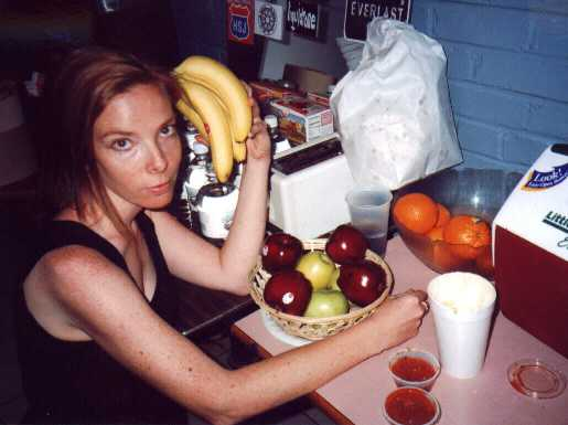 Backstage at the Varsity: Laurie probably isn't going to eat this fruit.